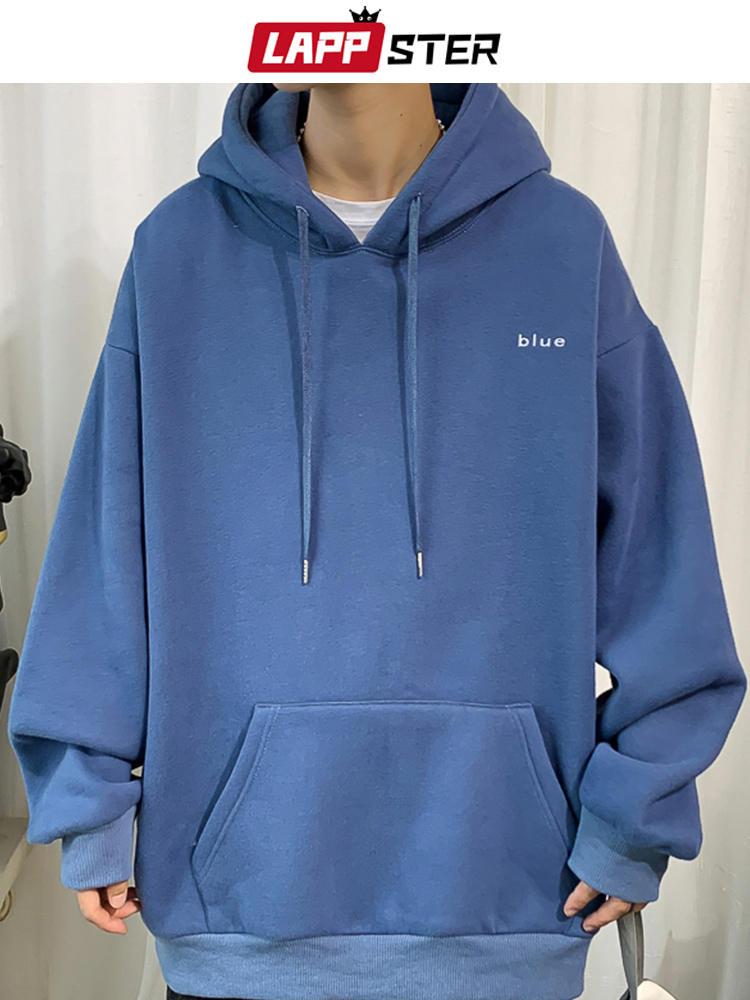 Oversized Hoodie Sweatshirts Embroidery Harajuku Fleece Black Lappster Men Korean 7-Colors