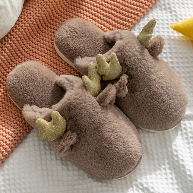 Фото женские меховые тапочки для дома теплые домашние из хлопка с