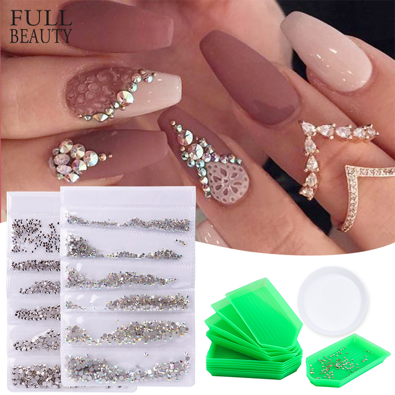 1440pcs AB White Rhinestone For Nails Mixed 6 Type Flatback Strass Stone Glitter Acrylic Nail Art Decoration Accessories CH880-1