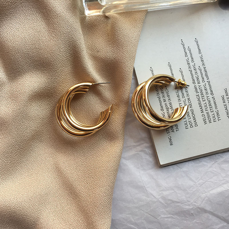 Zara* Women 2019 New EARRINGS Metal Semi-circular Cc Jwewlry Earrings Women Korean Cc Earrings Boucle D'oreille Femme 2019