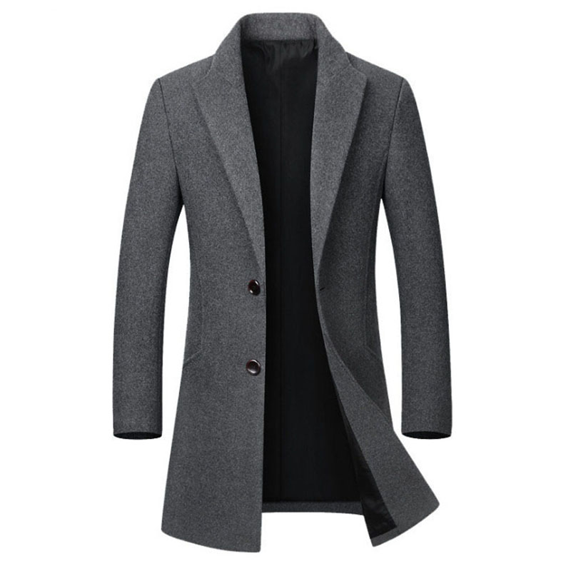 Coat Jacket Long Winter Casual Men's Slim Collar Cotton Wool High-Quality title=