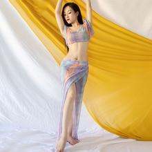 Hot Sales Women Team Top Sexy Split Skirt 2 Piece Belly Danc