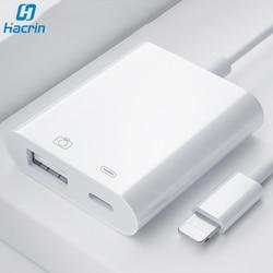 Adaptador OTG para Lightning A Adaptador de cámara USB Cable OTG para iPad iPhone con puerto de carga convertidor de datos para teclado de disco U