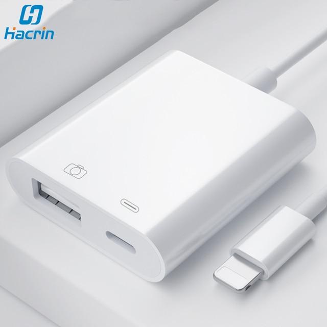 OTG محول ل البرق إلى كاميرا بـ USB محول كابل OTG لباد آيفون مع شحن ميناء محول البيانات ل U القرص لوحة المفاتيح