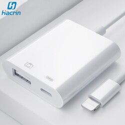 USB 카메라 어댑터에 번개 용 OTG 어댑터 U 디스크 키보드 용 충전 포트 데이터 변환기가있는 iPad iPhone 용 OTG 케이블