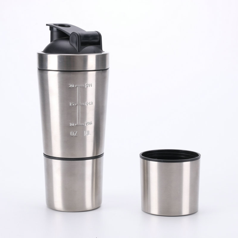 High Quality Detachable Protein Powder Shaker Bottle Stainless Steel Sport Fitness Metal Water Thermal Cup Blender Vacuum Mixer Water Bottles     - AliExpress