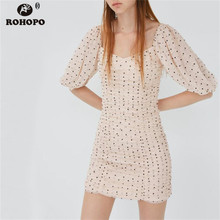 ROHOPO Women Pink Draped Cake Tulle Polk Dot Party Dress Puff Sleeve Square Collar Fit Cute Sexy Bodycon Vestido #2100