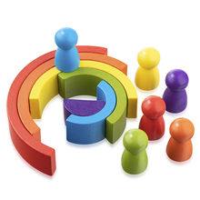 12 adet ahşap gökkuşağı oyuncak yaratıcı ahşap gökkuşağı yığılmış denge blokları bebek oyuncak Montessori eğitici oyuncaklar çocuklar için