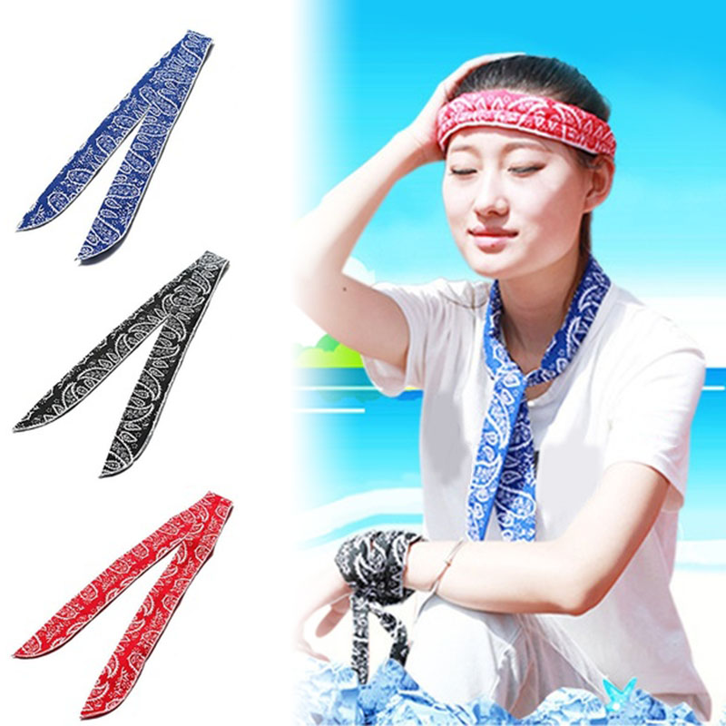 Multifunction Non-toxic Neck Cooler Scarf Body Ice Cool Cooling Wrap Tie Headband Refreshing Bandana Wrist Towel Summer Sports