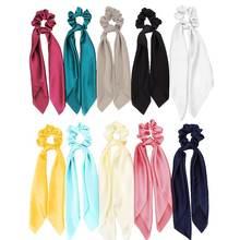 10 цветов шелковые атласные резинки для волос шарф с бантом
