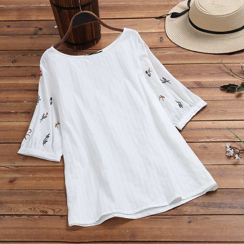Fashion Floral Embroidery Tops Women's Linen Blouse ZANZEA 2020 Casual Half Sleeve Shirts Female O Neck Blusas Plus Size Tunic