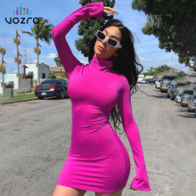 VOZRO High Lead Self-cultivation Sexy Winter Party Bodycon Beach Dress Women Autumn Horn Sleeve Package Hip Skirt Vestido Befree