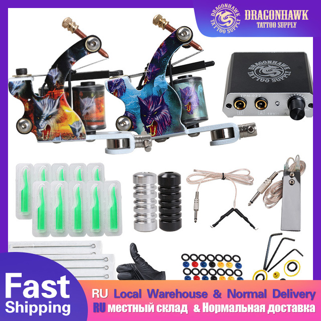 Complete Beginner Tattoo Kit Mini Tattoo Power Supply Cheap Tattoo Kit Set Grips Needles Tips Supplies