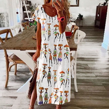 Women Short Sleeve Long Dress Summer Ethnic Style Digital Print Maxi Dresses Girls Loose Split Beach Sundress Vestidos 2020 new summer dresses women casual short sleeve o neck print a line dress large size streetwear sundress loose dress vestidos