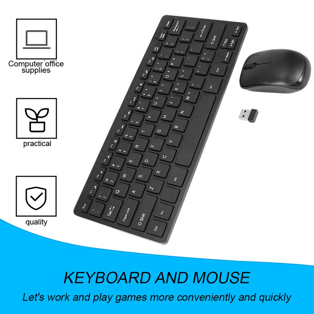 Mini 03 2.4G DPI Wireless Keyboard and Optical Mouse Combo Black for Desktop SW