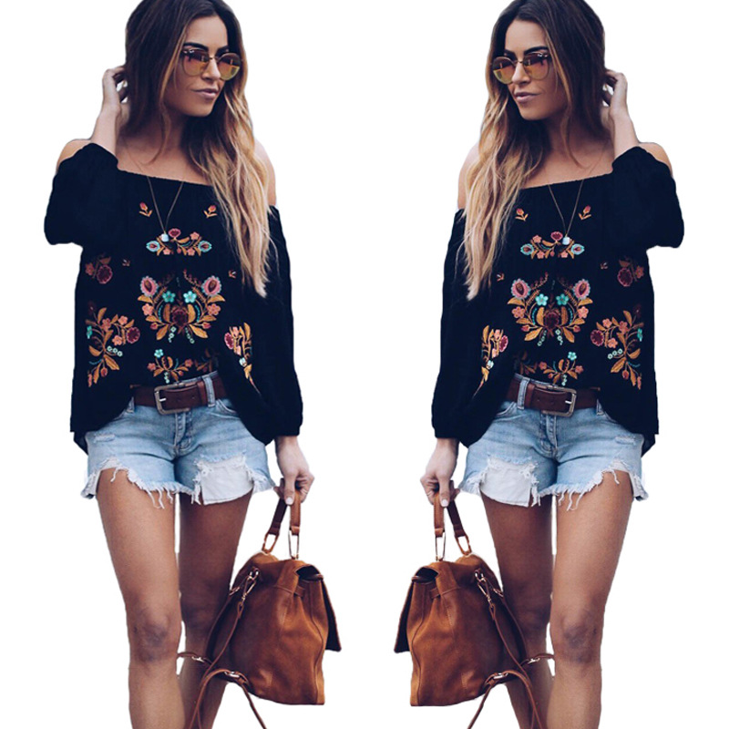 women blouse fashion 2020  female womens top shirt embroidery casual lantern sleeve elegant  popular ladies clothing top 90s