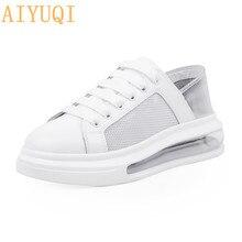 Повседневная обувь AIYUQI 2020 новые женские летние белые сетка воздухопроницаемый два носить бисквит подушке женщин кроссовки