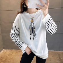 Women clothing fashion Printed kawaii image T-Shirt Round neck Black white striped long sleeves Oversized coat Loose Tops Female
