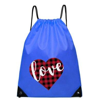 Funny Bag Love Women Pocket Draw String Bags Girls Red Printed Womens Fashion Nylon Custom Logo Christmas Gift 2020