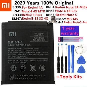 Originale XiaoMi Batteria di Ricambio Per Xiaomi Redmi 3 3S 3X 4X 4A 5A 3 pro 5 Più Nota 3 4 4X 5 5A 6 7 Pro Mi5 Mi 8 5X Batteria 1