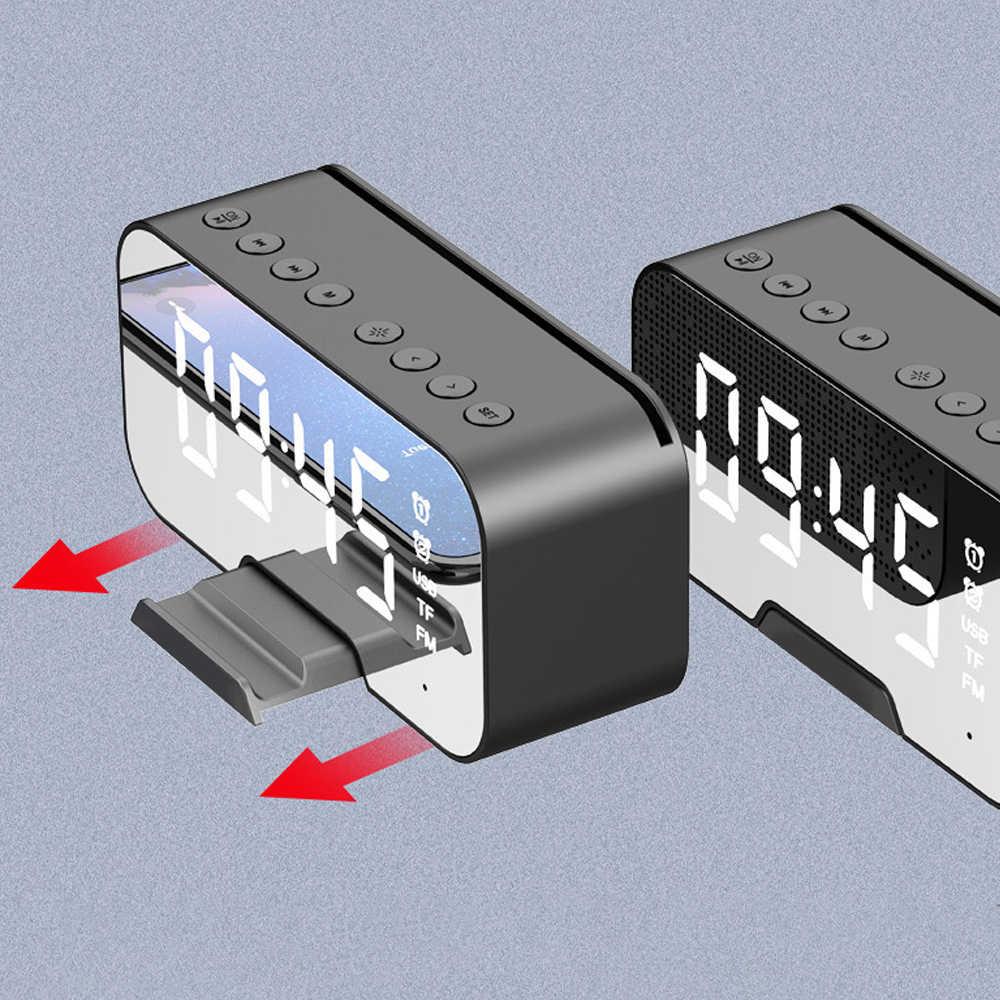 Multifunzione Orologio con Bluetooth Speaker Radio Fm Led di Allarme Specchio Orologio Snooze Orologio Desktop Subwoofer Senza Fili Del Giocatore di Musica