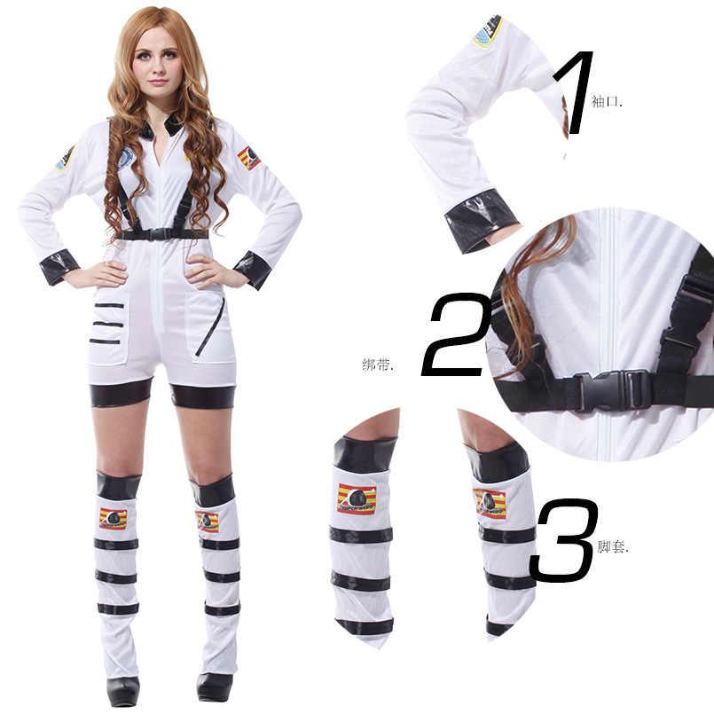 Vrouwen Astronaut Jumpsuit Kostuum Witte Ruimte Pak Vlucht Dress Up Kostuums Rollenspel Sets Voor Vrouwelijke Volwassen Carnaval Kleding