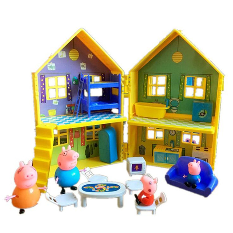 Peppa Pig Family Toys Doll Aircraft Sports Car House Villa Full Roles Action Figure Model Educational For Kids Children Gifts