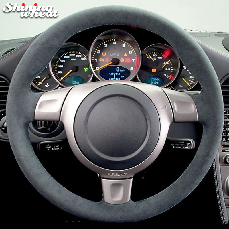 Shining wheat Black Suede Car Steering Wheel Cover for Porsche 997 turbo 911 2006