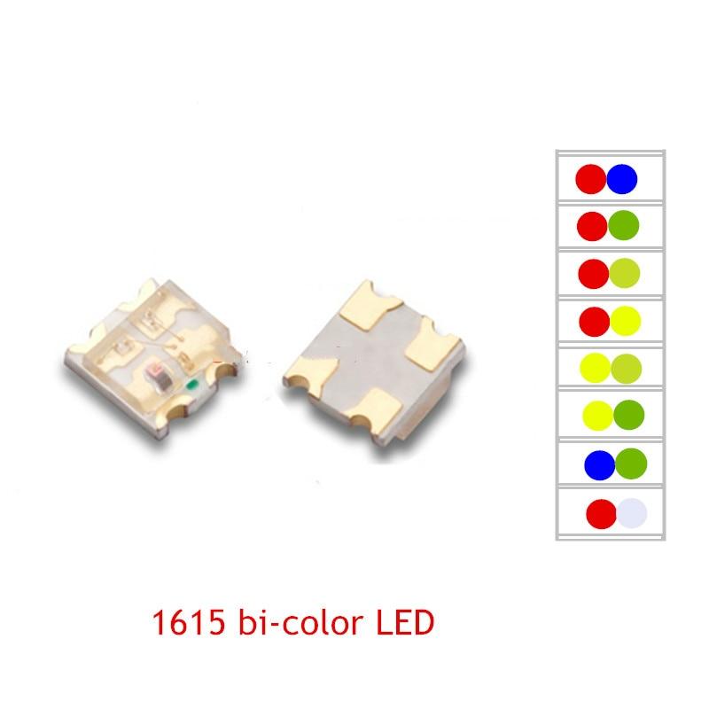 50PCS 0805 SMD LED 1615 Bicolor LEDs 2 Colors  Red+GREEN /R+BLUE / R+YELLOW /R+WHITE Cree Led COB Chip Led Power Led Light Beads