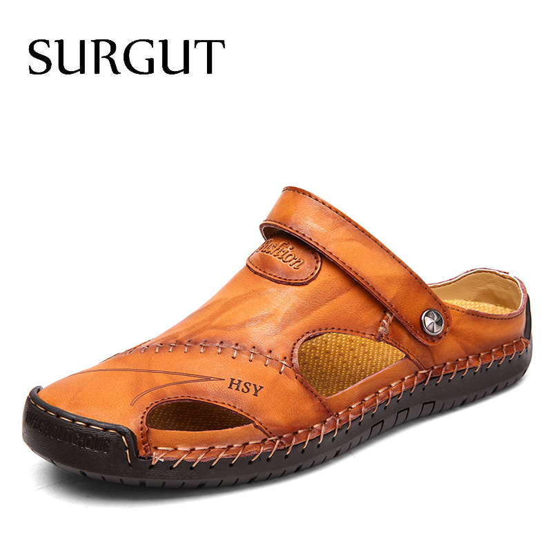 SURGUT Summer Sandals Men Leather Classic Roman Sandals 2020 Slipper Outdoor Sneaker Beach Rubber Flip Flops Men Water Trekking