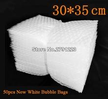 50pcs 새로운 화이트 버블 가방 30*35cm 투명 패딩 봉투 랩 에어백 파우치 포장 PE 메일러 포장