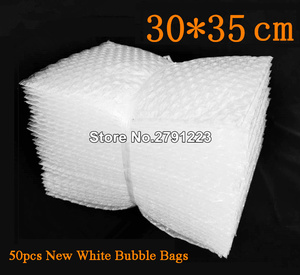 Image 1 - 50pcs New White Bubble Bags 30*35cm Transparent Paded Envelopes Wrap Air Bags Pouches Packaging PE Mailer Packing