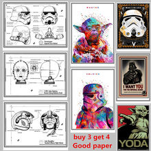 Mixed Order Vintage Classic Movie Star Wars Darth Vader Luke Jedi Poster Cafe Bar Home Decor Retro Kraft Paper Wall Sticker(China)