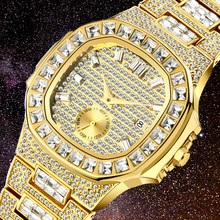 Iced Out Watch Men Hip Hop Luxury Full Bling Diamond Mens Quartz Watches Man 18K Gold Steel Waterproof Reloj Hombre Male Clock(China)
