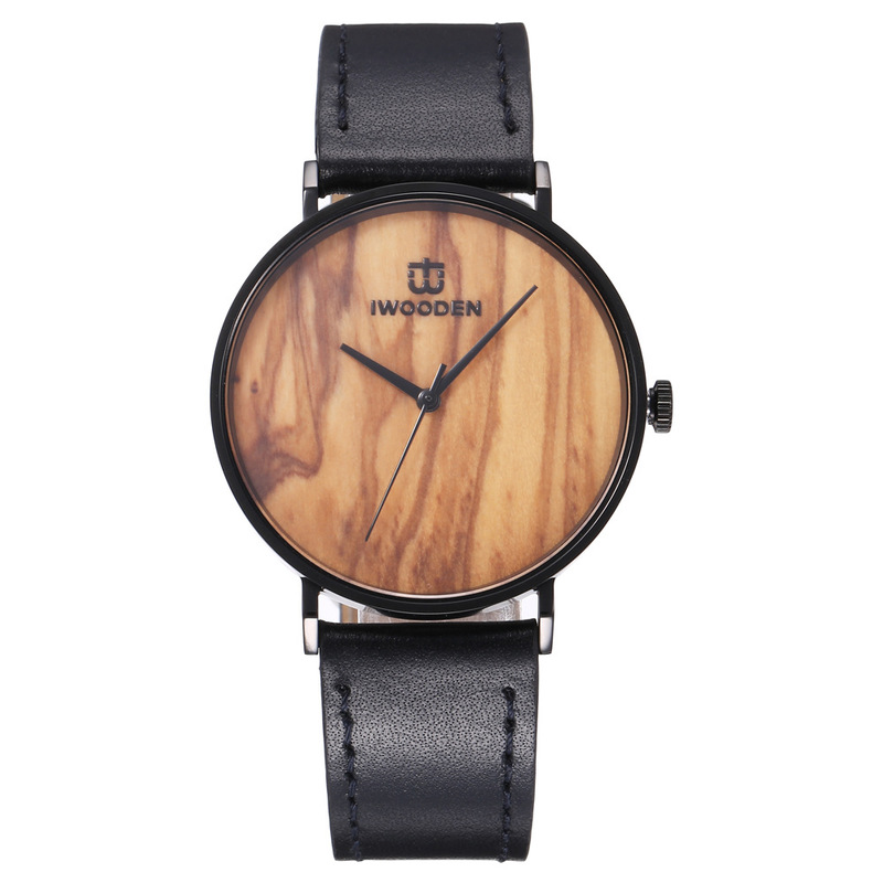 2020 Sale Selling Fashion Simple Waterproof Leather Strap Olive Wood Surface Man Watches Speed Sell Through Hot Style