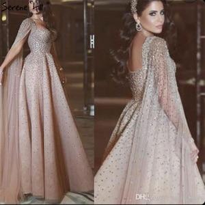 Image 3 - Serenhill robe de soirée dorée, Sexy, tenue de soirée luxueuse, forme trapèze, sans manches, dos nu, cristaux de dubaï, LA70290, 2020