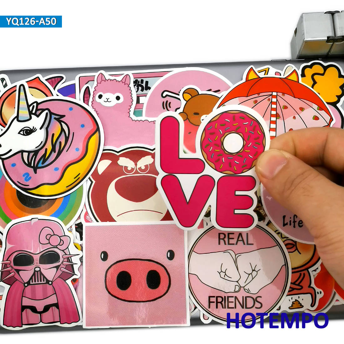50pcs Cute Anime Mix Pink Style Stickers For Children Kids Girl Toys Gift Mobile Phone Laptop Luggage Art Shape Pattern Stickers