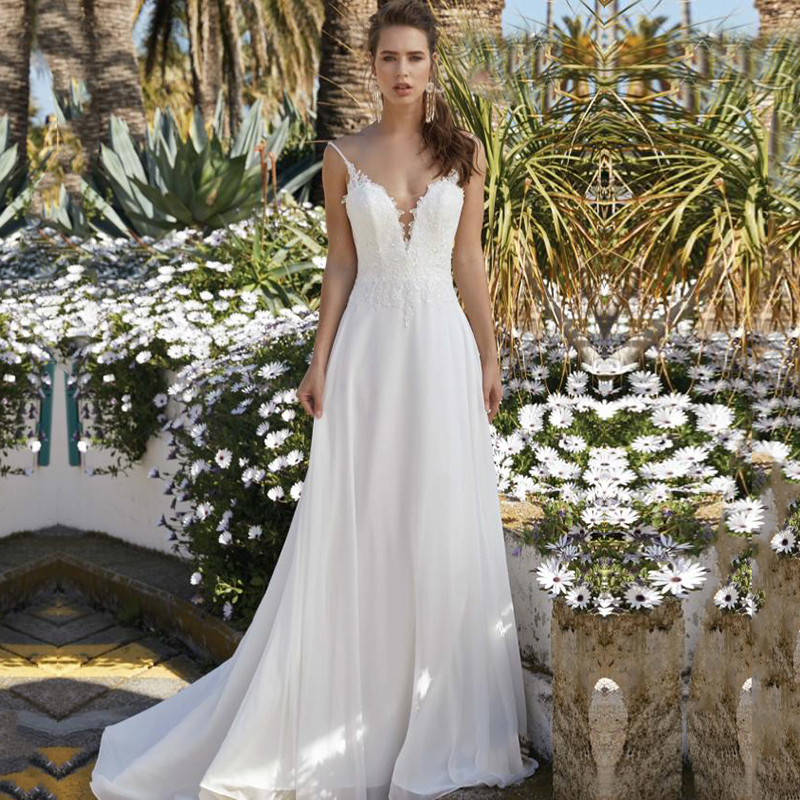Eightale Boho Wedding Dresses Spaghetti Strap Appliques Chiffon With Blouse A-Line Beach Wedding Gowns Bridal Dresses 2020