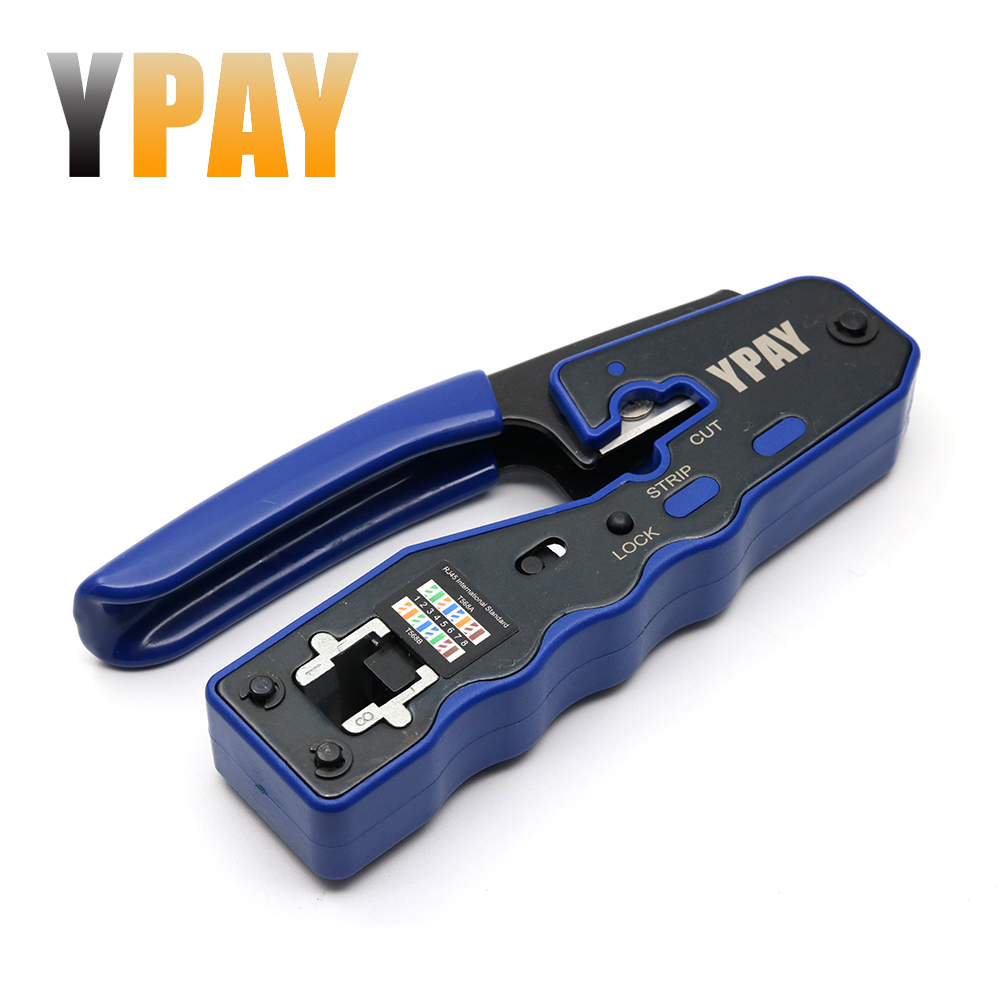 YPAY EZ Rj45 Crimper Hand Network Tools Pliers Cat5 Cat6 8p Rg Rj 45 Ethernet Cable Stripper Pressing Clamp Tongs Clip Rg45 Lan