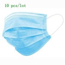 10 teile/paket Non Woven Einweg Gesicht Mund Atemschutz Maske 3 Schicht Anti-Virus Anti-Staub Ohrbügel Maske für haar salon verwenden