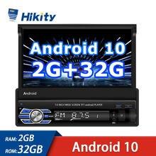 Hikity 1 Din Autoradio Android 10.1 2 + 32G Optioneel 7 ''Touch Screen Auto Multimedia Speler Gps wifi Bluetooth Achteruitrijcamera