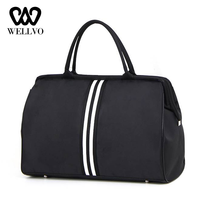 Women Overnight Weekend Traveling Bag Ladies Stripe Handbag Big Travel Bag Light Luggage Men Foldable Duffle Bags Korean XA637WB