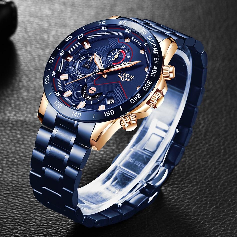 H726f24d1bd6f443eb72880073c1805a4N LIGE Men Watches Top Brand Luxury Stainless Steel Blue Waterproof Quartz Watch Men Fashion Chronograph Male Sport Military Watch