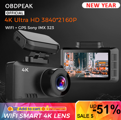 4K WIFI Dash Cam GPS Track Car DVR 3840*2160P 30FPS Ultra HDSuper Night Vision Camera Video Recorder Auto Phone Connection