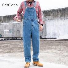 Мужской джинсовый комбинезон samlona синий Модные свободные