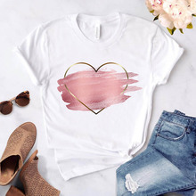 Love Heart Flower Print Women's T-shirt Casual Basis O-collar T-shirt White Top Shirt Short Sleeve F