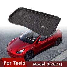 Tapis de coffre avant de voiture, 1 pièce, pour Tesla Model 3, accessoires de voiture, tampons de protection résistants à l'usure, noir TPE, tapis Compatible 2021