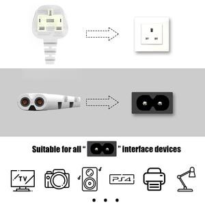 Image 4 - 3M Trắng Anh AC Dây Nguồn 3 Ngạnh Để Góc 90 Độ IEC C7 Hình Số 8 Cho Samsung LG sony TIVI LED SHARP, PS4 PS3 Dây Cáp Điện