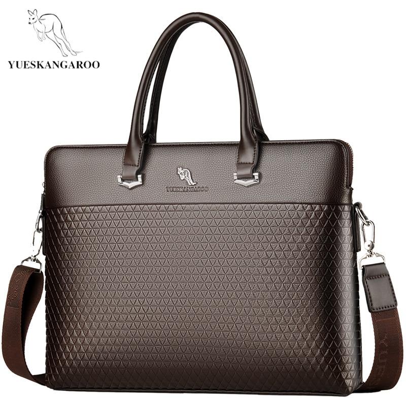 YUES KANGAROO New Leather Men's Briefcase Handbags Fashion Large Capacity Business Bag Tote Black Male Shoulder Laptop Bag