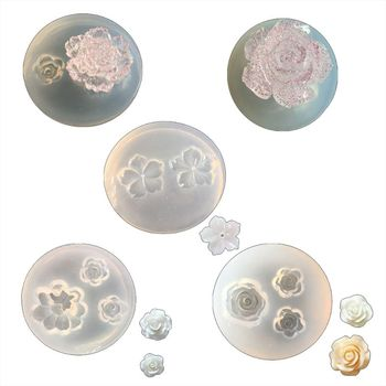 5Pcs Mini Flower Resin Silicone Molds Jewelry Making Tools Casting for DIY Craft Keychain Necklace Earrings Project